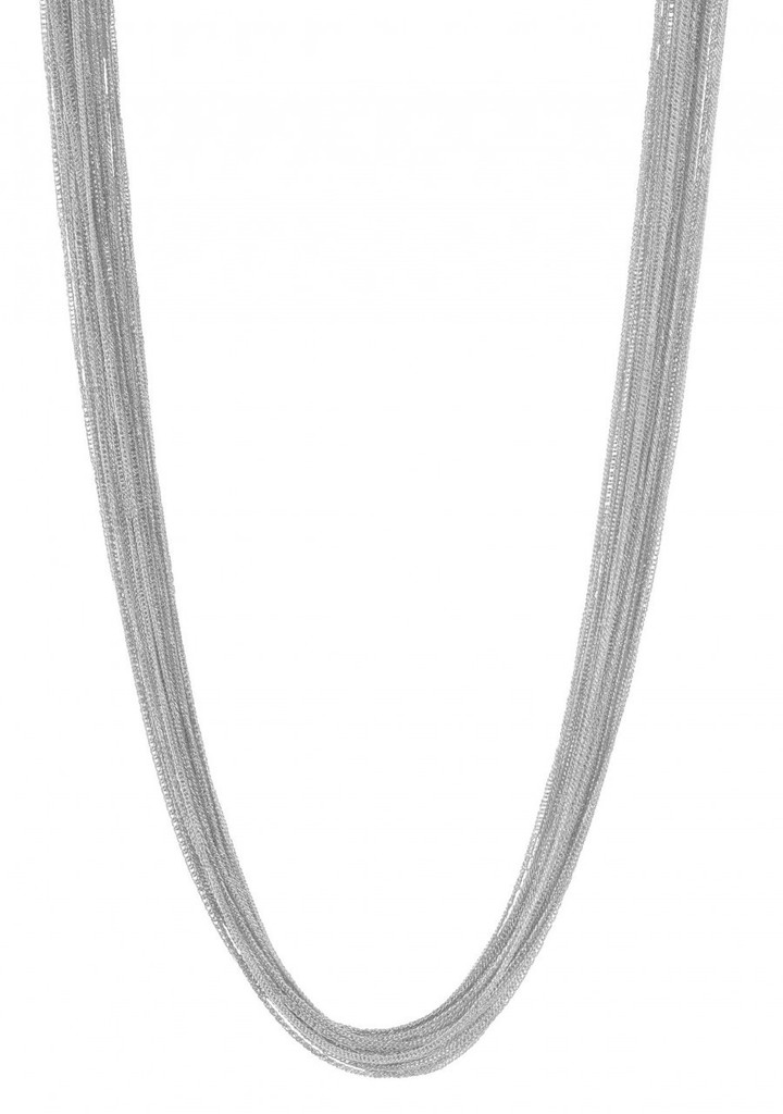 Rhodium Plated Silk Chain Necklace