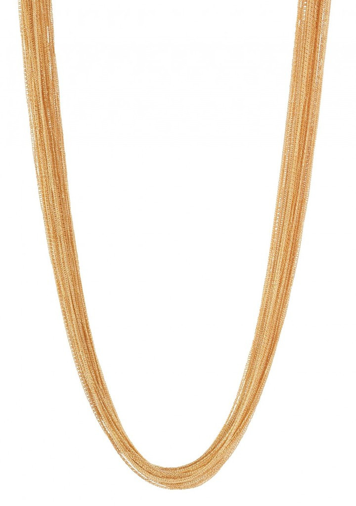 Yellow Gold Plated Silk Chain Necklace