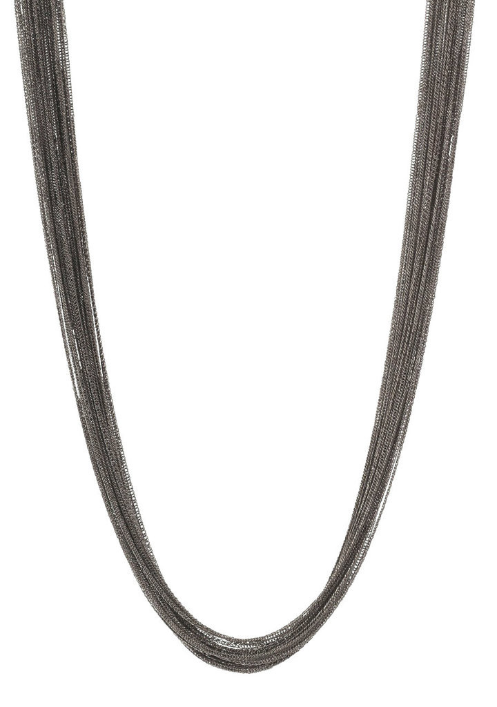 Gunmetal Plated Silk Chain Necklace
