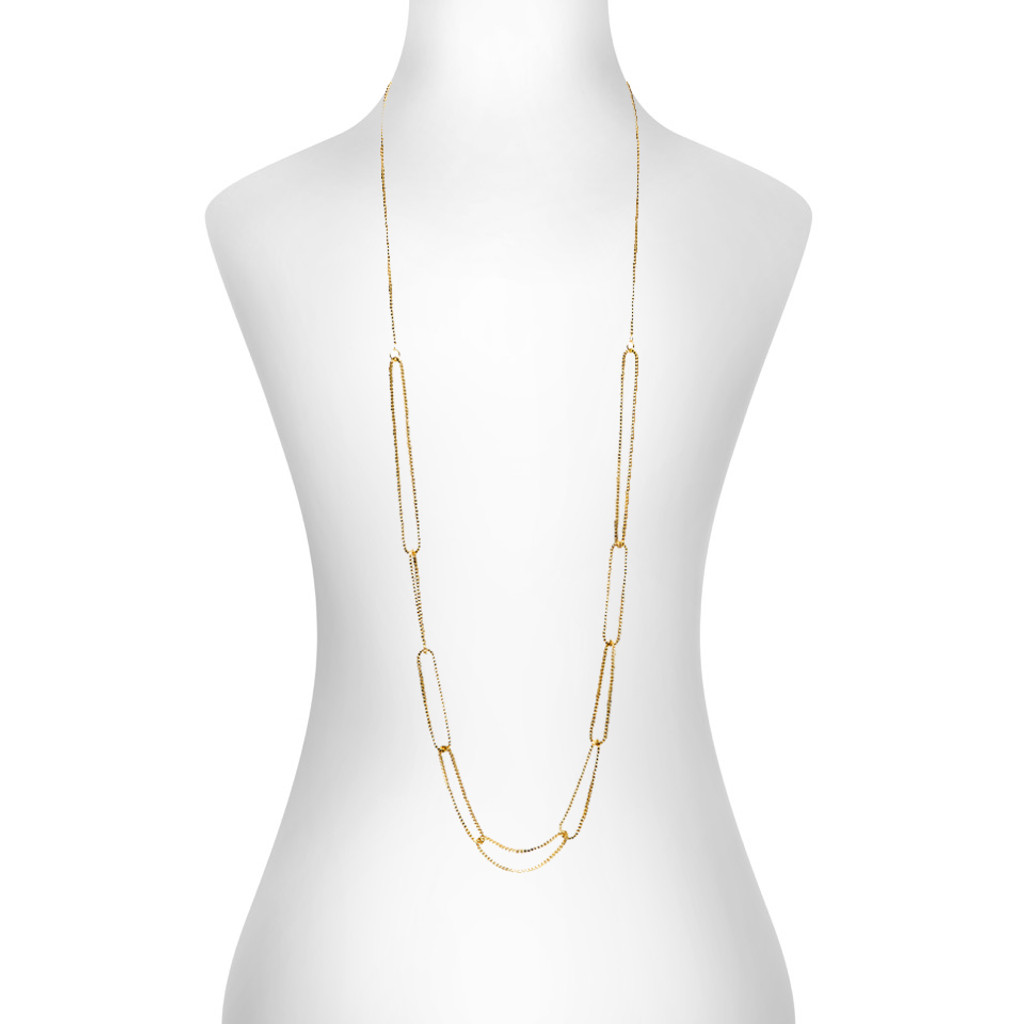 Yellow Gold Plated Jess Necklace Shown on Neck