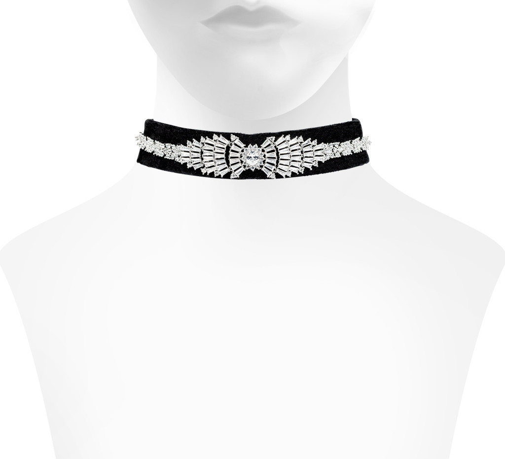 Black Velvet Marilynn Choker Shown on Neck