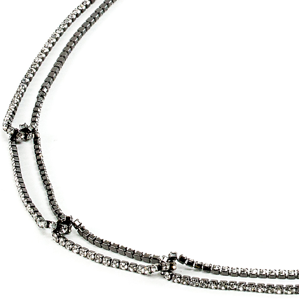 Gunmetal Plated Chevron Necklace with All Crystal Links Close Up Detail