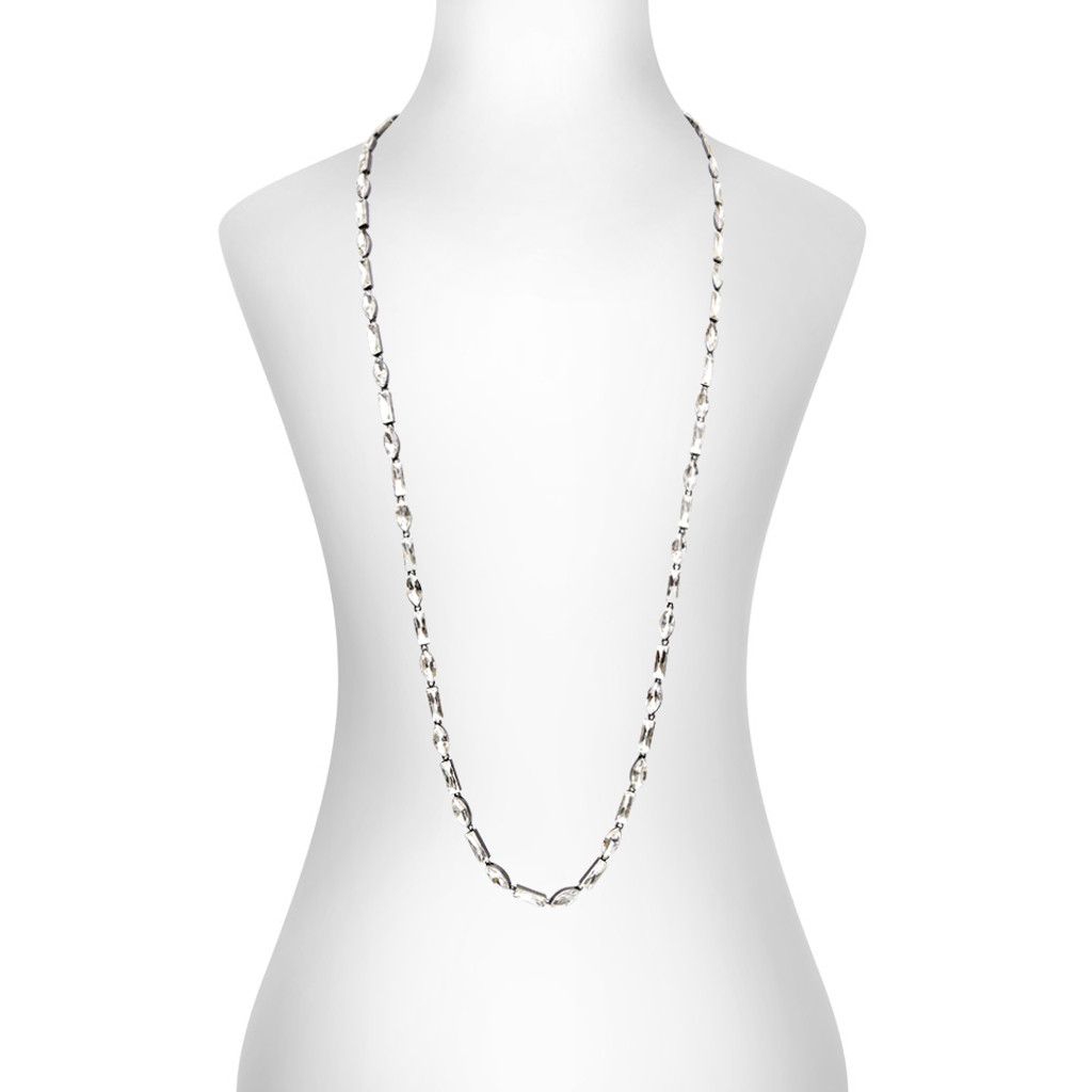 Gunmetal Plated Alternating Baguette & Marquise Necklace Shown on Neck