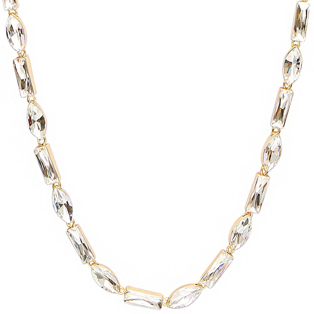 Yellow Gold Plated Alternating Baguette & Marquise Necklace Close Up Detail