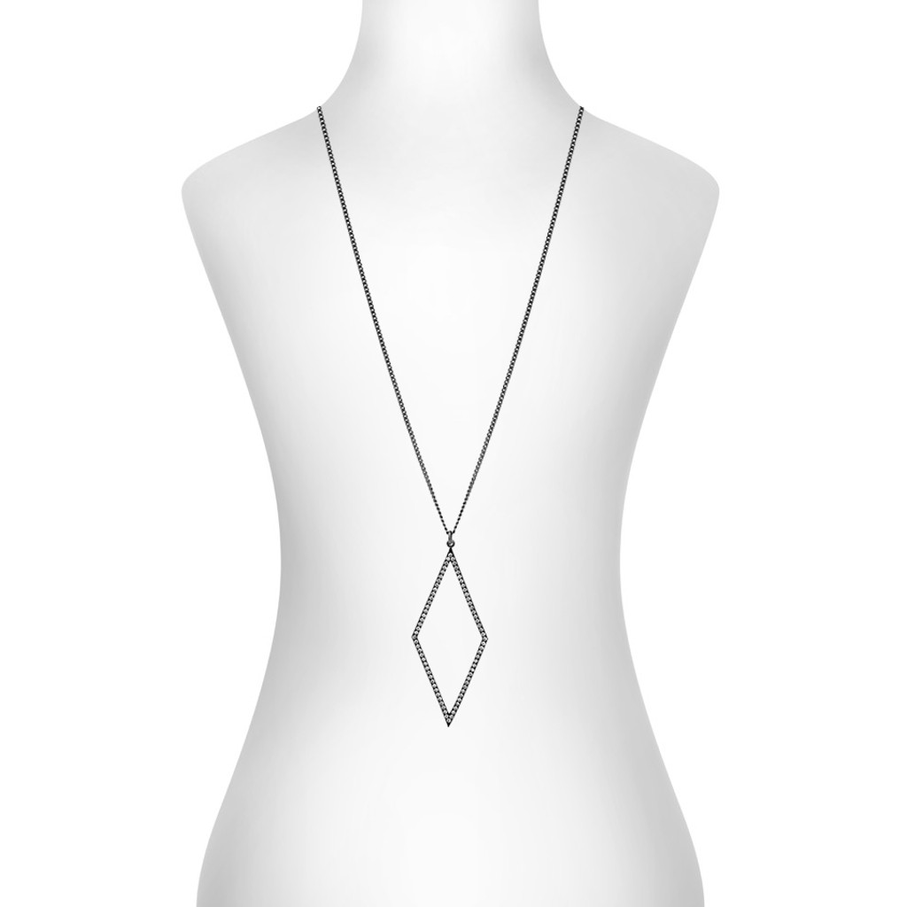Gunmetal Plated Micro Pave Open Diamond Necklace Shown on Neck