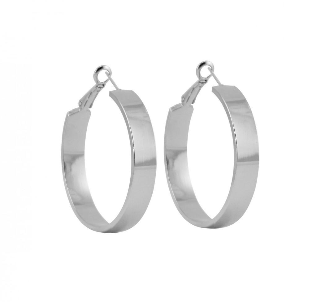 Rhodium Plated Medium Jennifer Hoop Earrings