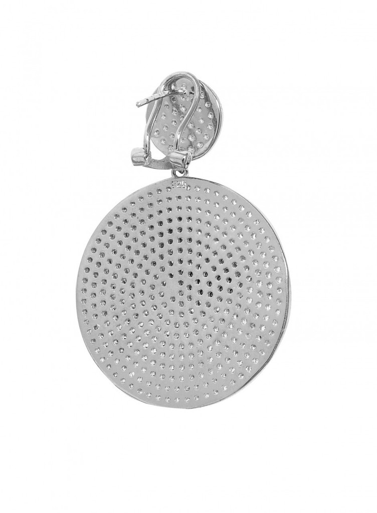 Rhodium Plated Micro Pave Disc Drop Earrings Back View