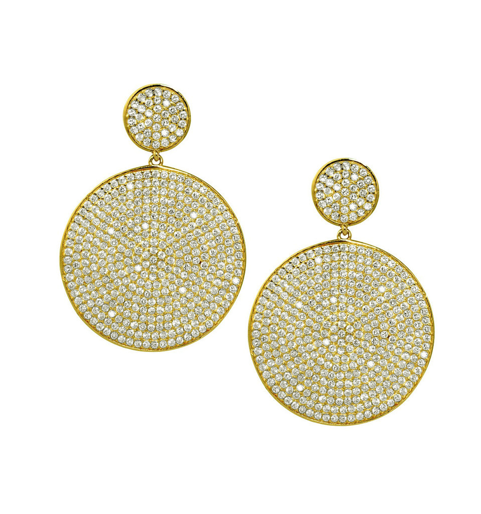 Yellow Gold Plated Micro Pave Disc Drop Earrings