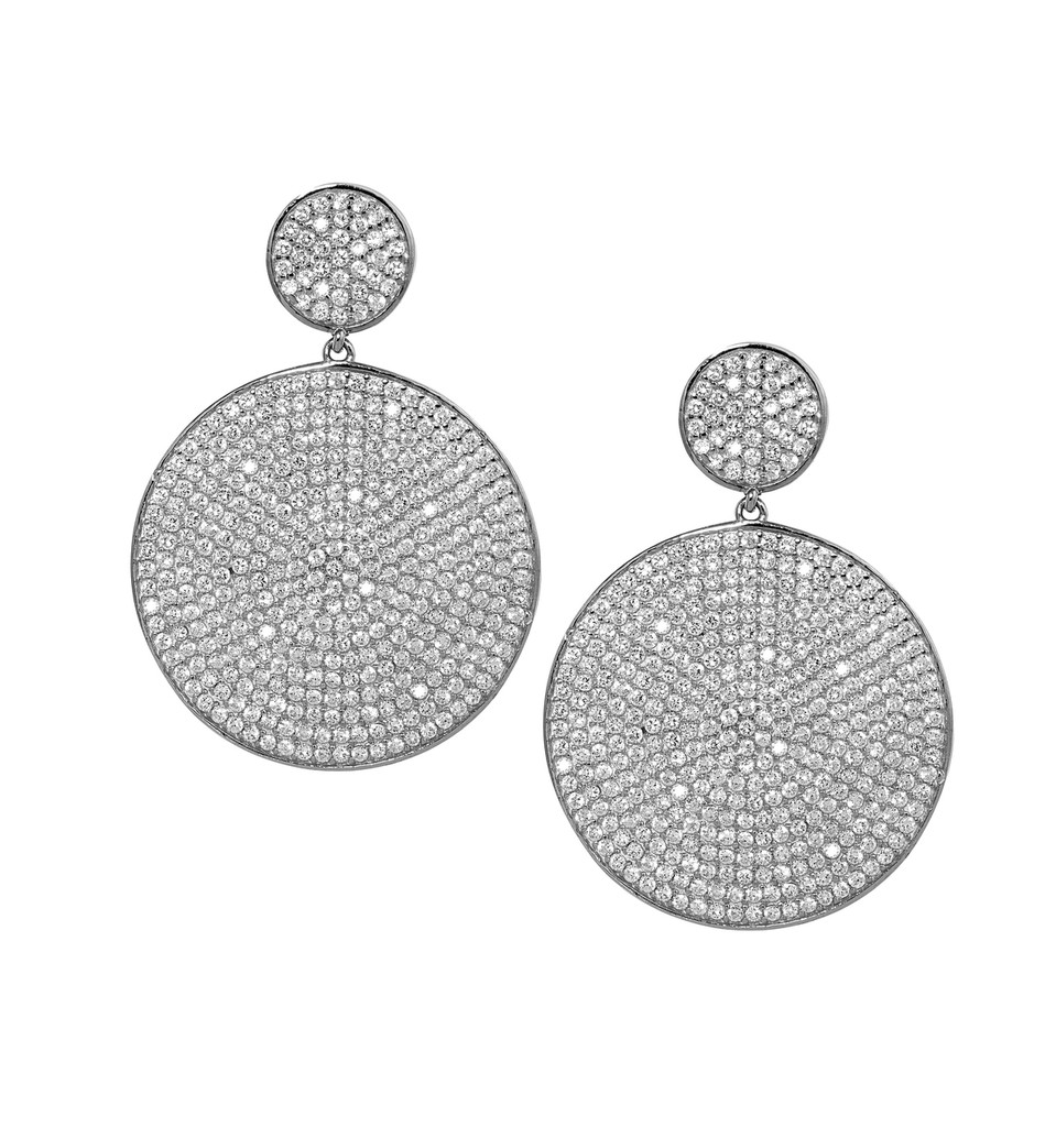 Antique Rhodium Plated Micro Pave Disc Drop Earrings