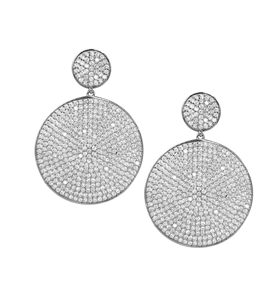 Rhodium Plated Micro Pave Disc Drop Earrings