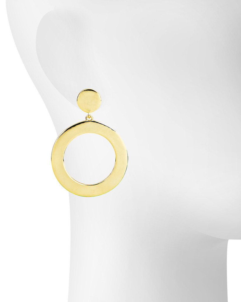 Yellow Gold Plated Coco Open Disc Drop Earrings Shown on Ear