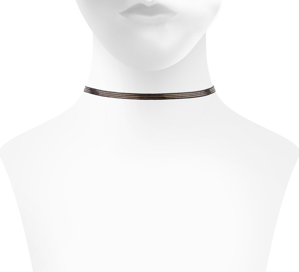 Reversible Finn Choker Side with Thin Gold Stripes Shown on Neck