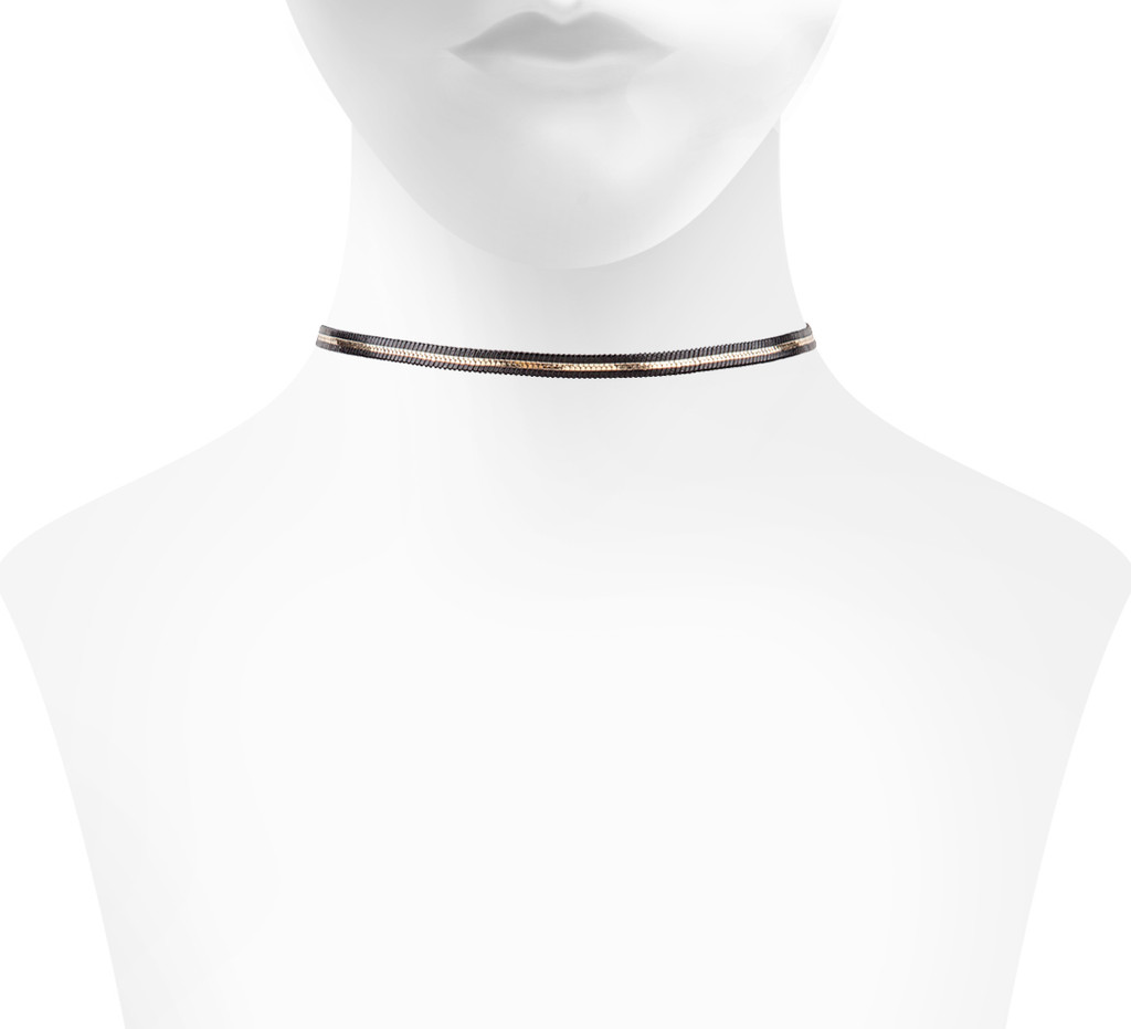 Reversible Finn Choker Side with Thick Gold Stripe Shown on Neck