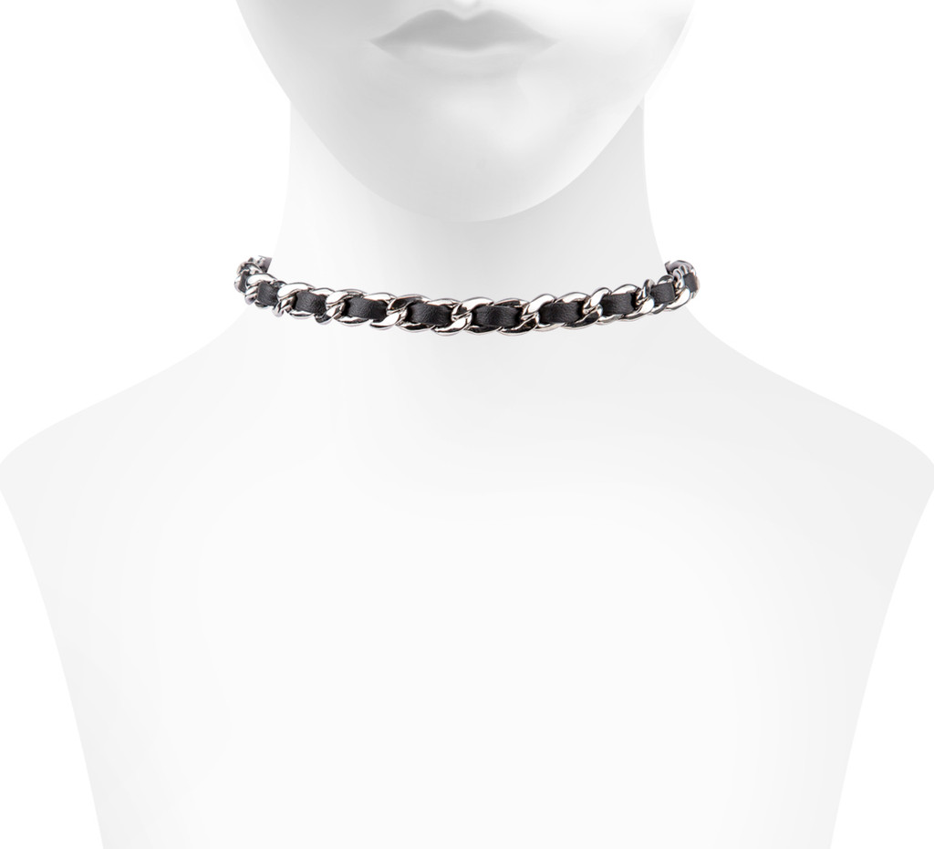 Rhodium Plated/Black Leather Michèle Choker Shown on Neck