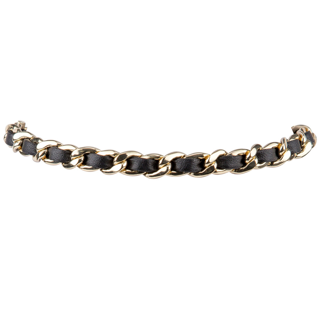 Yellow Gold Plated/Black Leather Michèle Choker