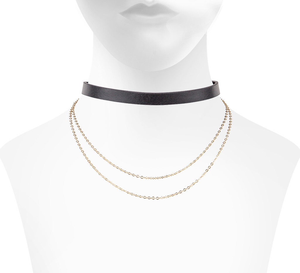 Yellow Gold Plated/Black Leather Finley Choker Shown on Neck