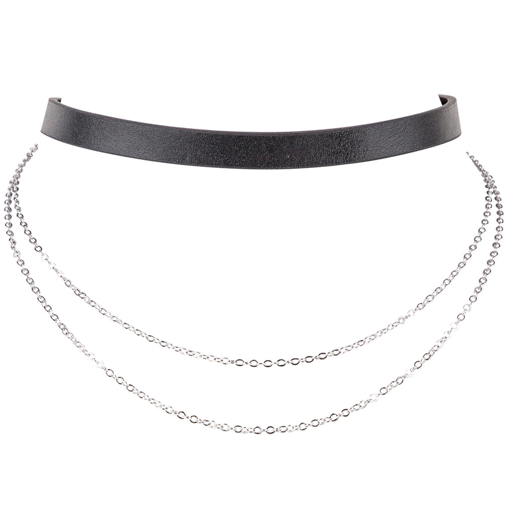Rhodium Plated/Black Leather Finley Choker