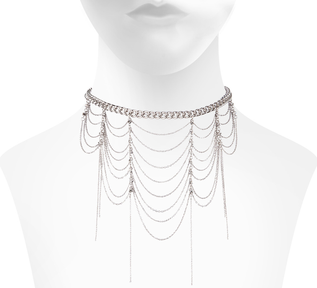 Rhodium Plated Beckett Choker Shown on Neck