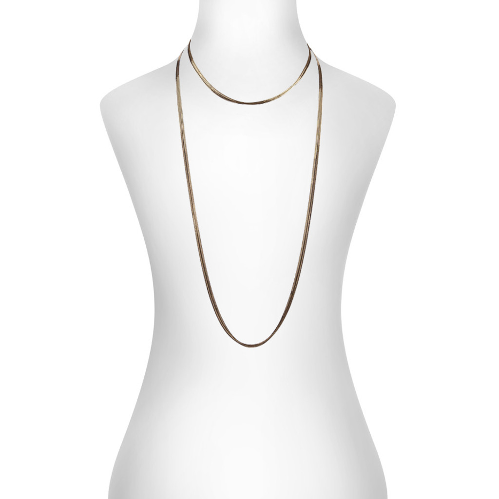 Black/Yellow Gold Plated Gigi Necklace Shown on Neck
