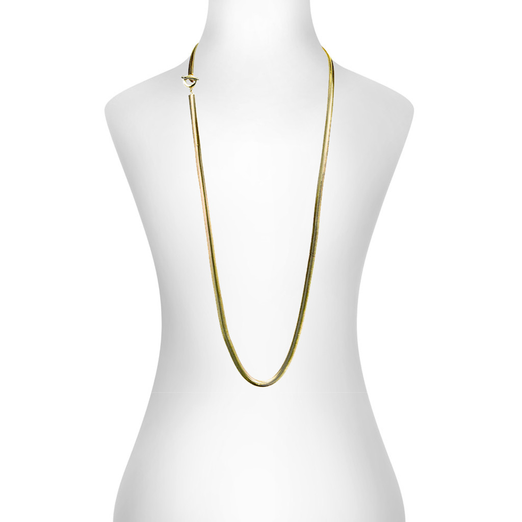Yellow Gold Plated Cooper Necklace Shown on Neck