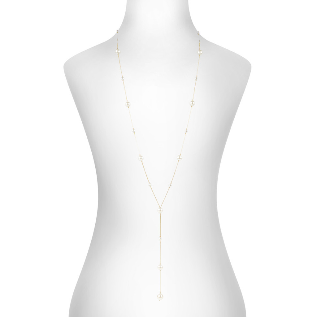 Yellow Gold Plated Iris Necklace Shown on Neck