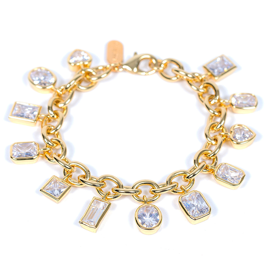 Yellow Gold Plated Encased Crystal Charm Bracelet