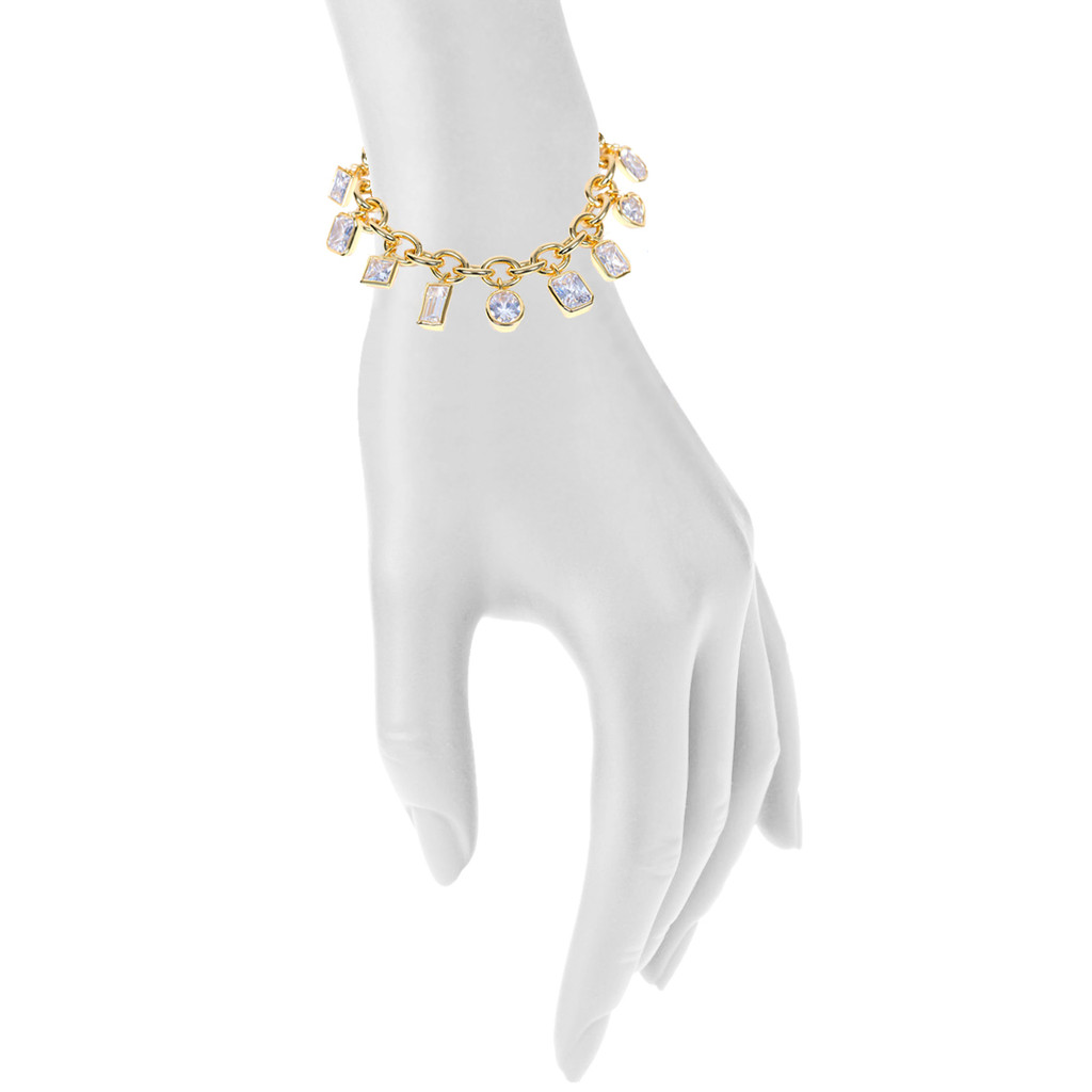 Yellow Gold Plated Encased Crystal Charm Bracelet Shown on Arm