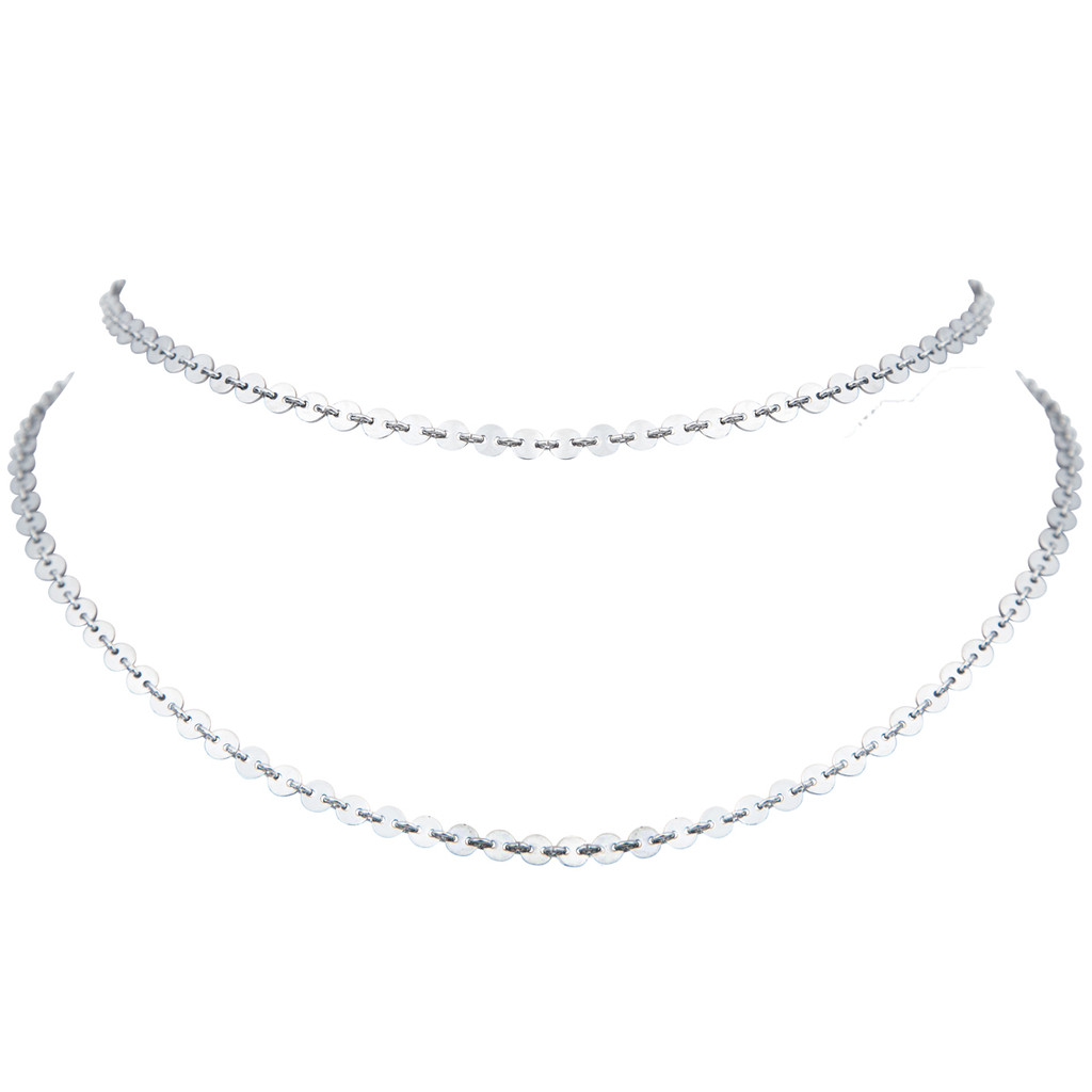 Rhodium Plated Double Mini Palette Choker