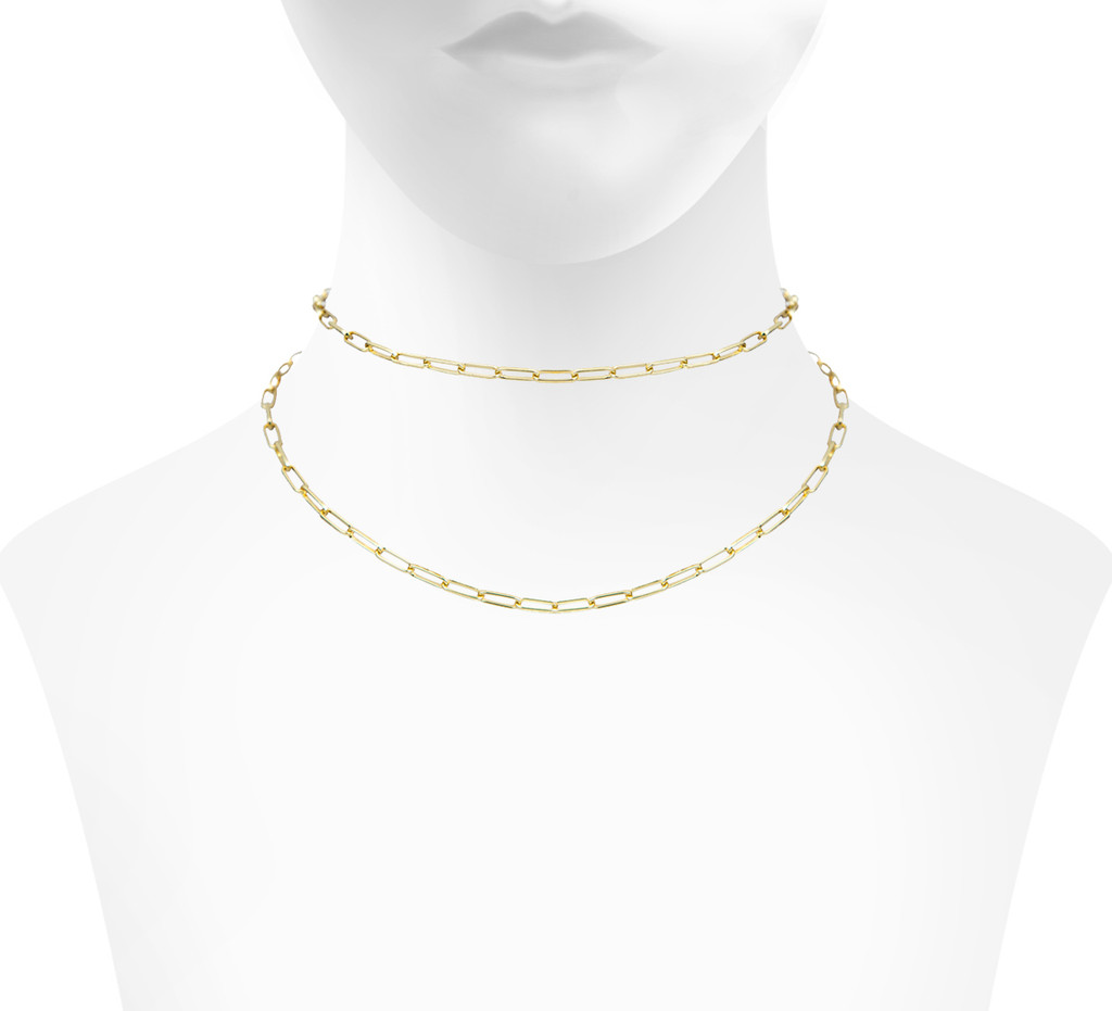 Yellow Gold Plated Double Mini Marcia Choker Shown on Neck