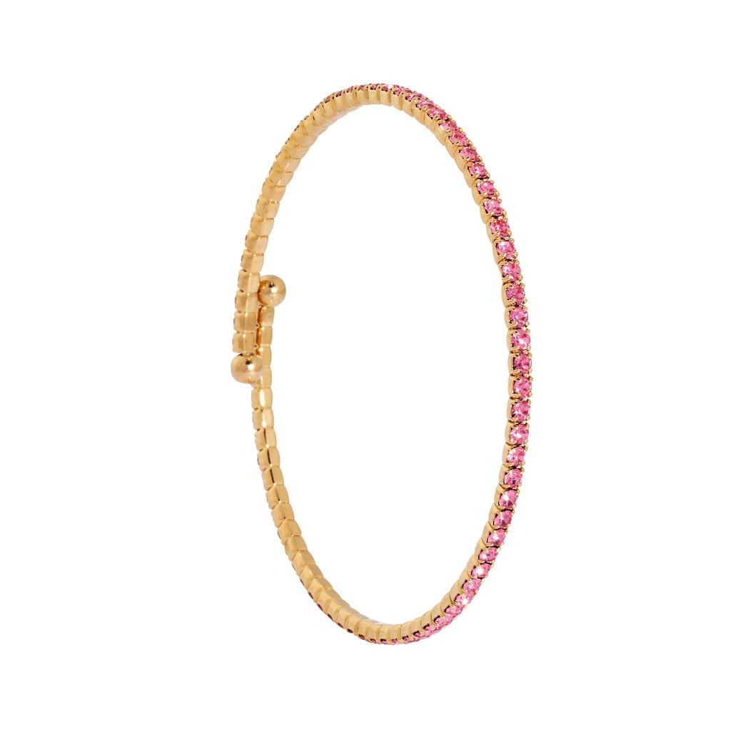 Yellow Gold/Light Rose 1 Line Crystal Wrap Bracelet
