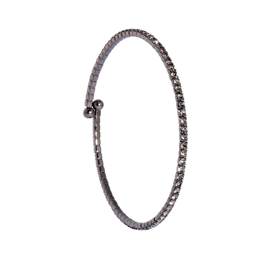 Gunmetal/Gunmetal 1 Line Crystal Wrap Bracelet