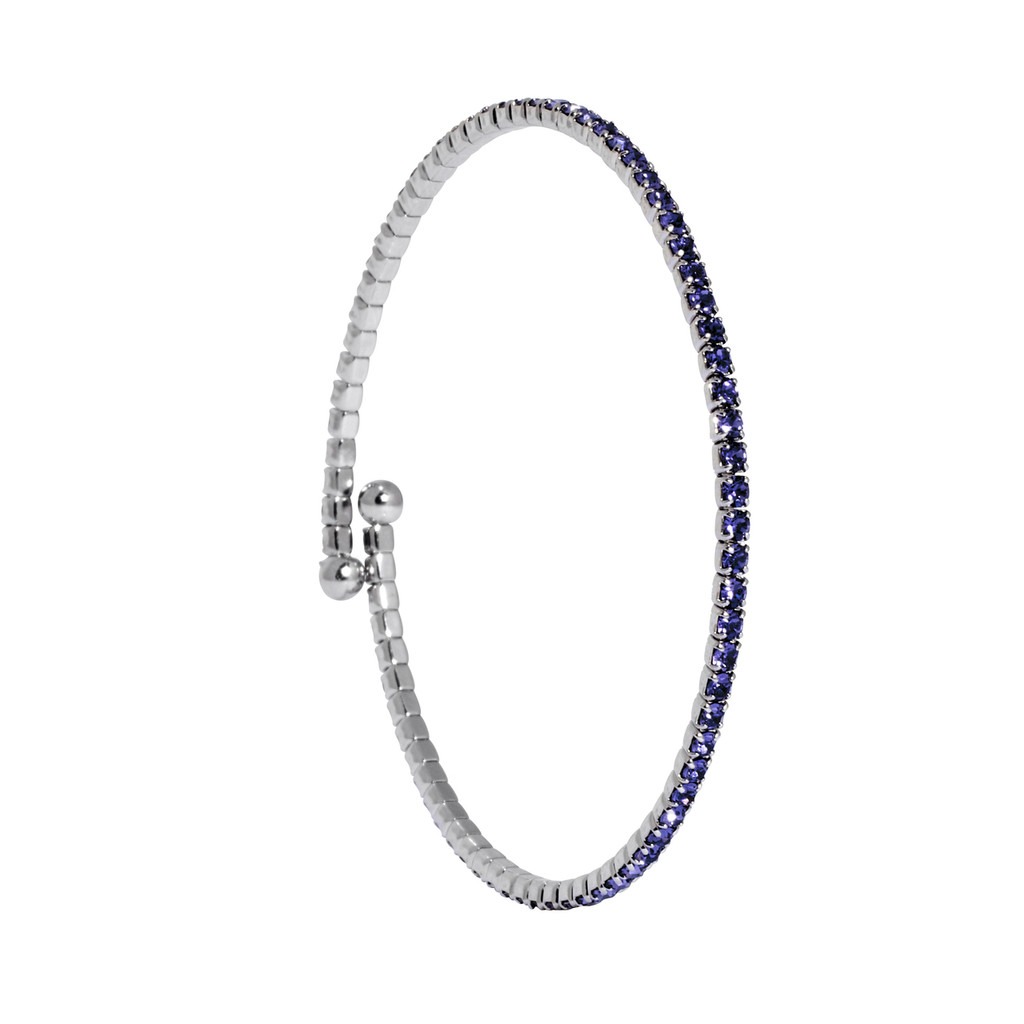 Rhodium/Lavender 1 Line Crystal Wrap Bracelet