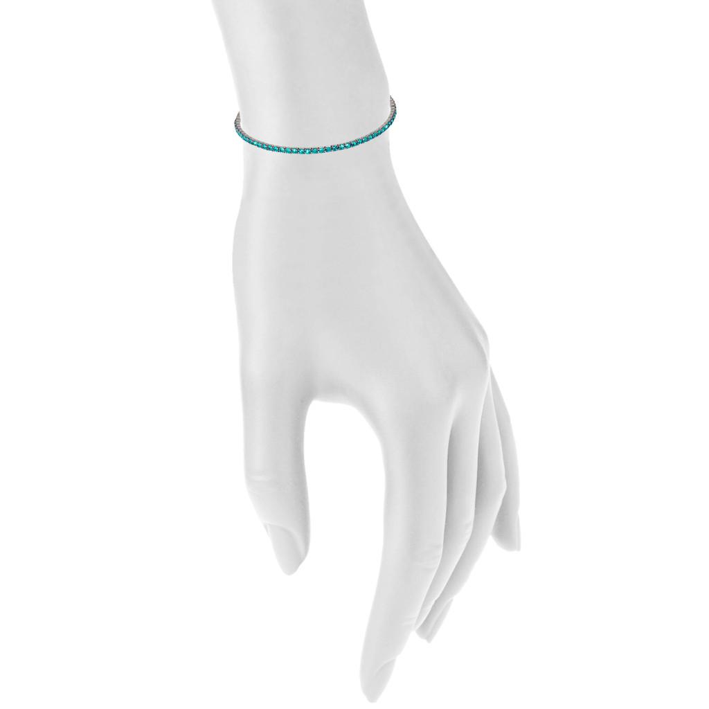 Gunmetal/Teal 1 Line Crystal Wrap Bracelet Shown on Arm