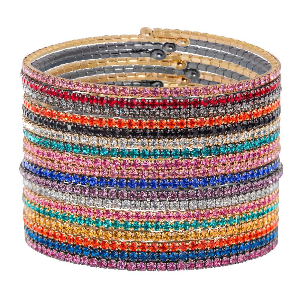 Assorted Rainbow Stack of 18 1 Line Crystal Wrap Bracelets
