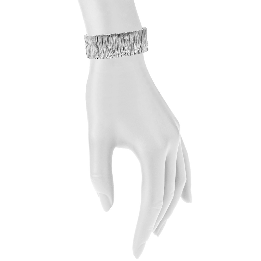 Rhodium Plated Small Bamboo Cuff Shown on Arm