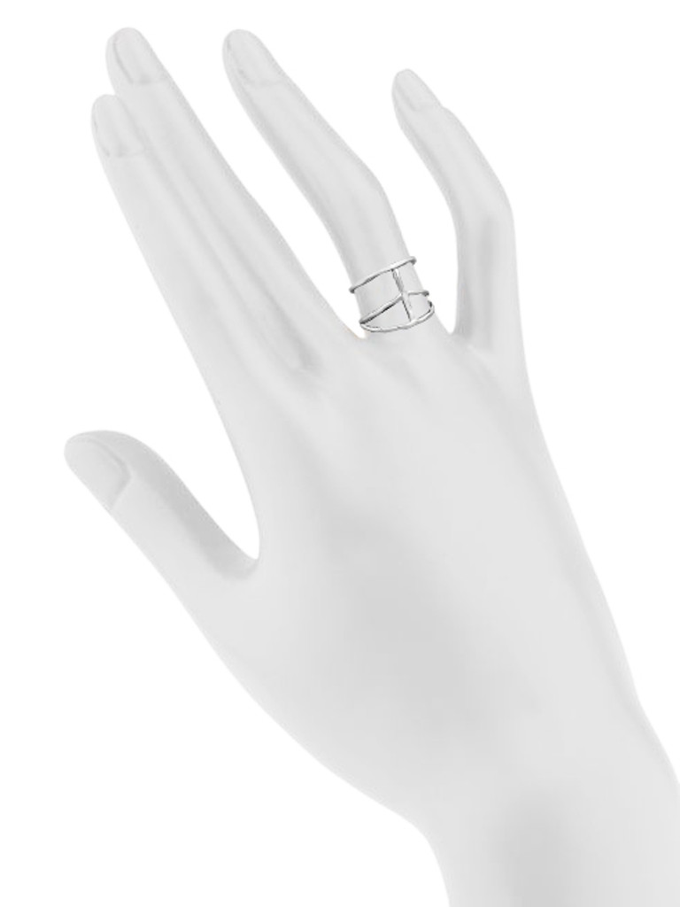 Rhodium Plated Peace Ring Shown on Hand