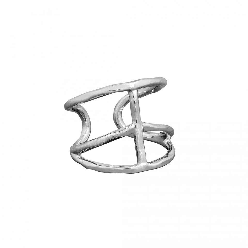 Rhodium Plated Peace Ring