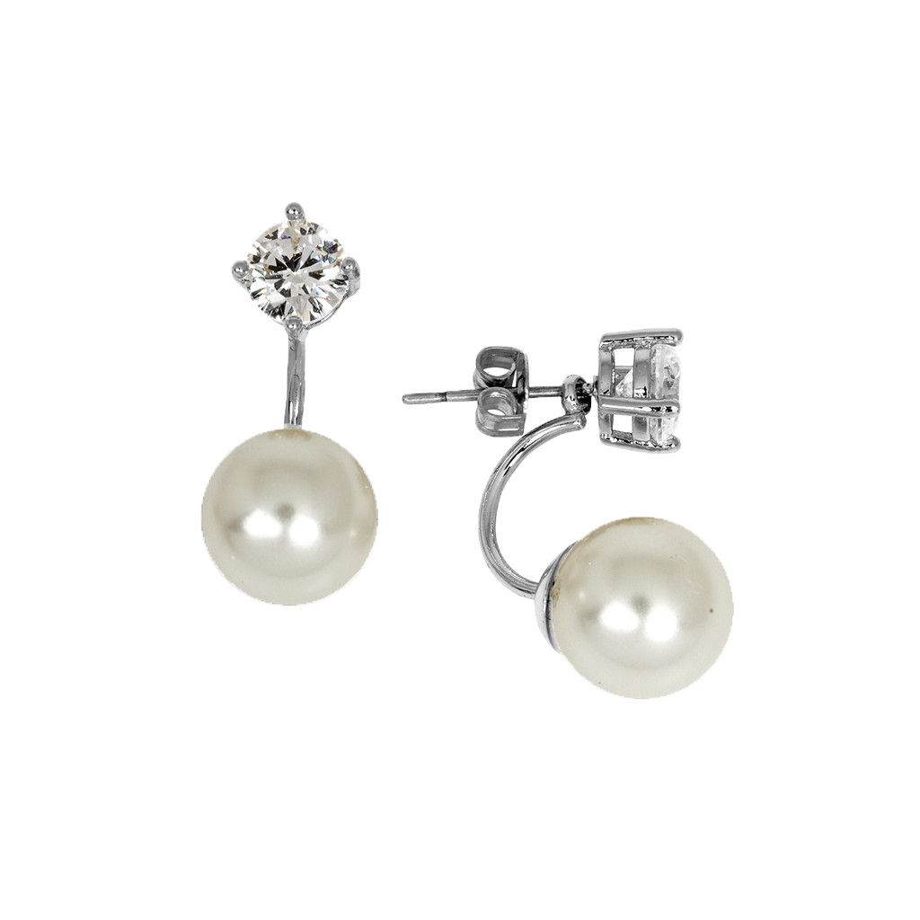 Rhodium Plated Pearl Earring Jacket