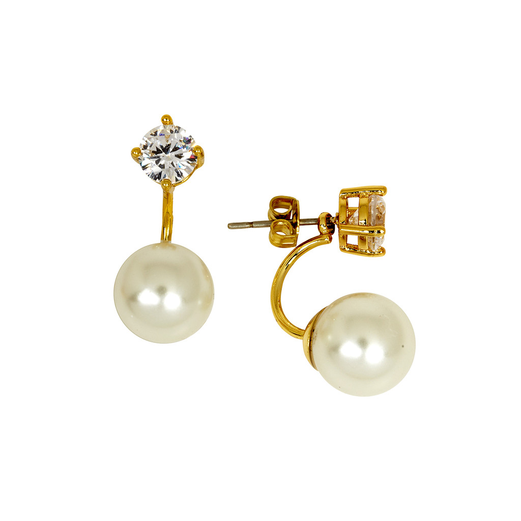 Yellow Gold Plated Pearl Earring Jacket