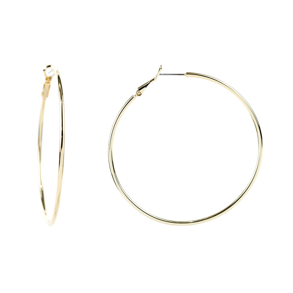 Yellow Gold Plated Large Thin Round Hoop Earrings