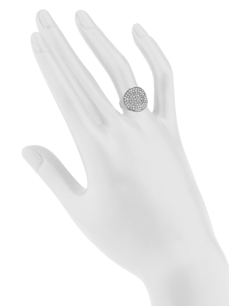 Rhodium Plated Adjustable Crystal Disc Ring Shown on Hand