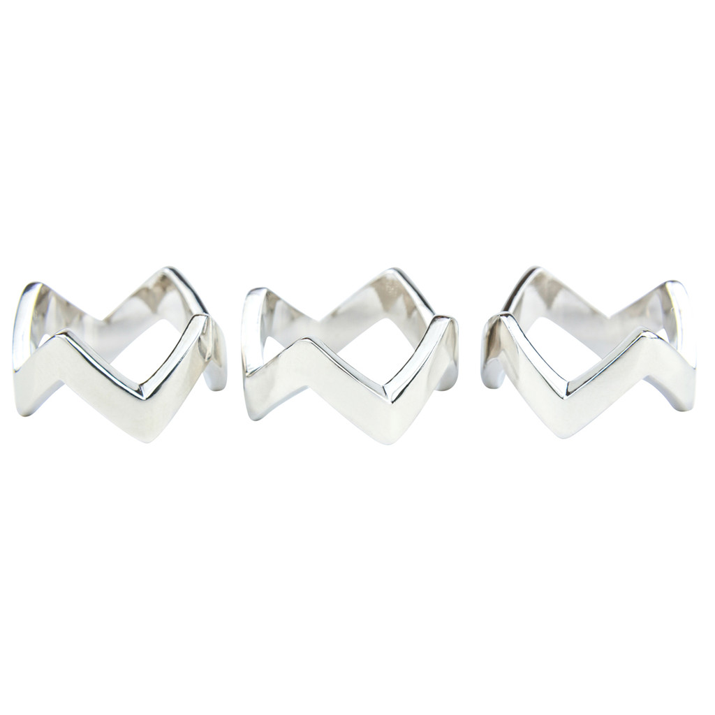 Rhodium Plated Set of 3 Chevron Rings Separated