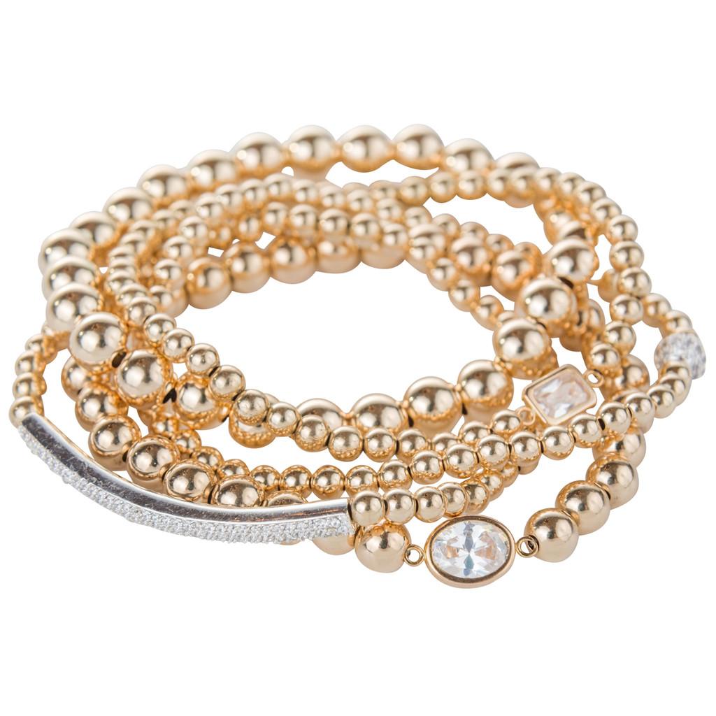 14K Gold Bracelet with Crystal ID Bar