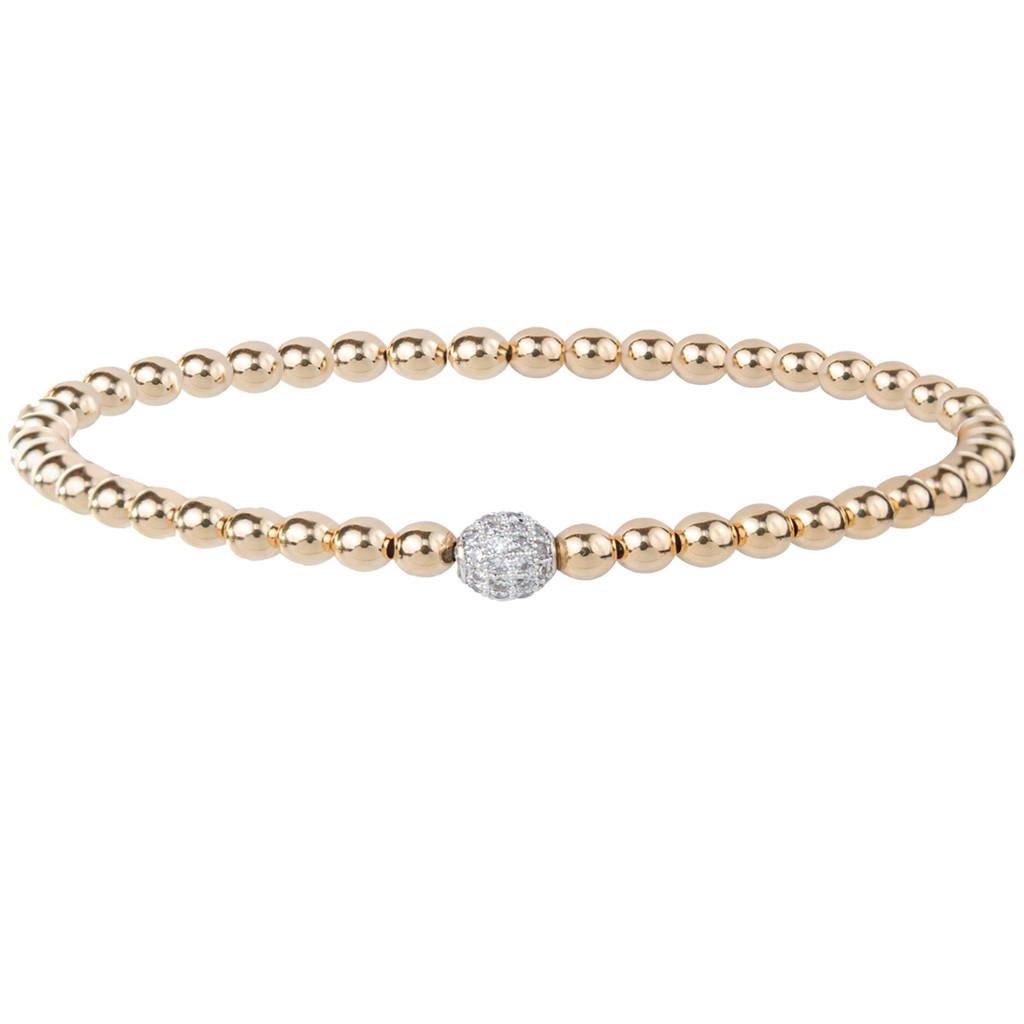 14K Gold Bracelet with Crystal Ball