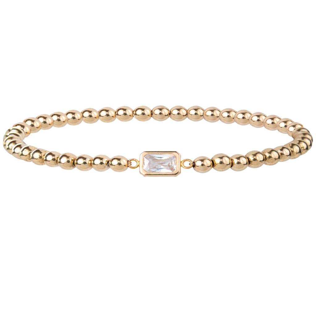 14K Gold Bracelet with Encased Emerald Cut Crystal