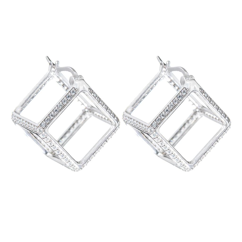 Rhodium Plated Crystal Cube Huggies