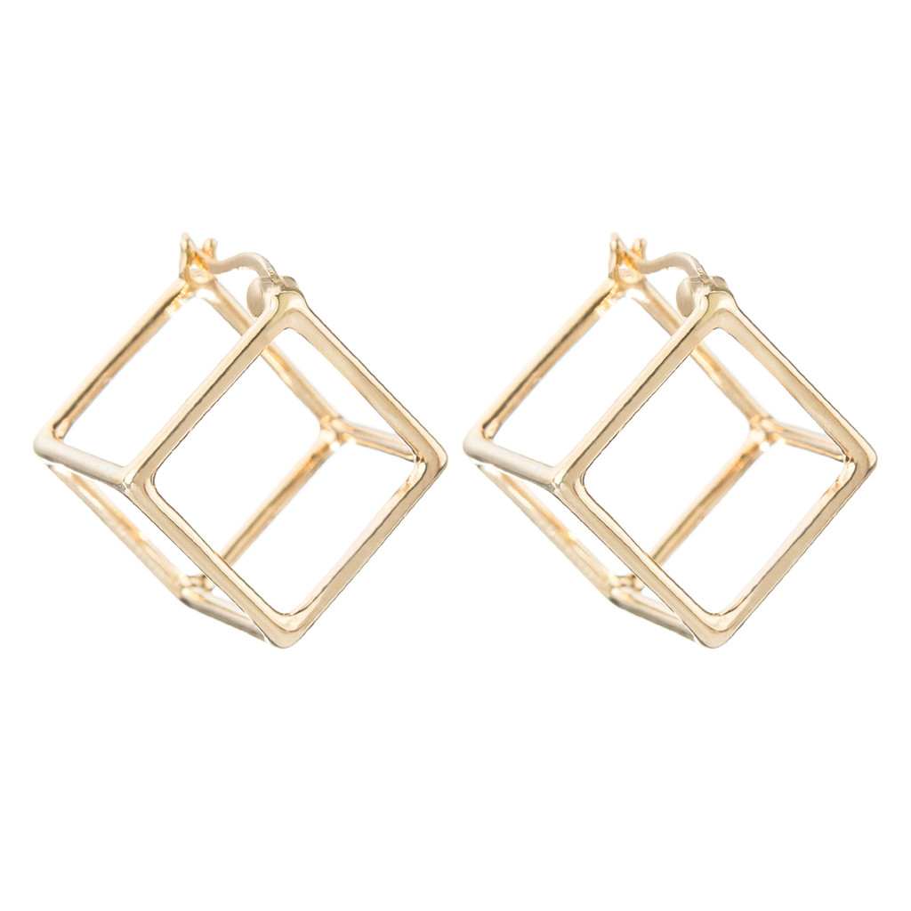 Yellow Gold Plated Solid Cube Huggies