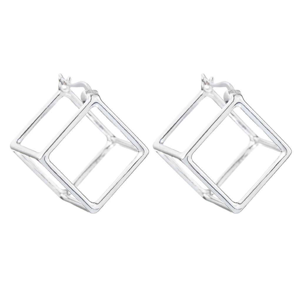 Rhodium Plated Solid Cube Huggies