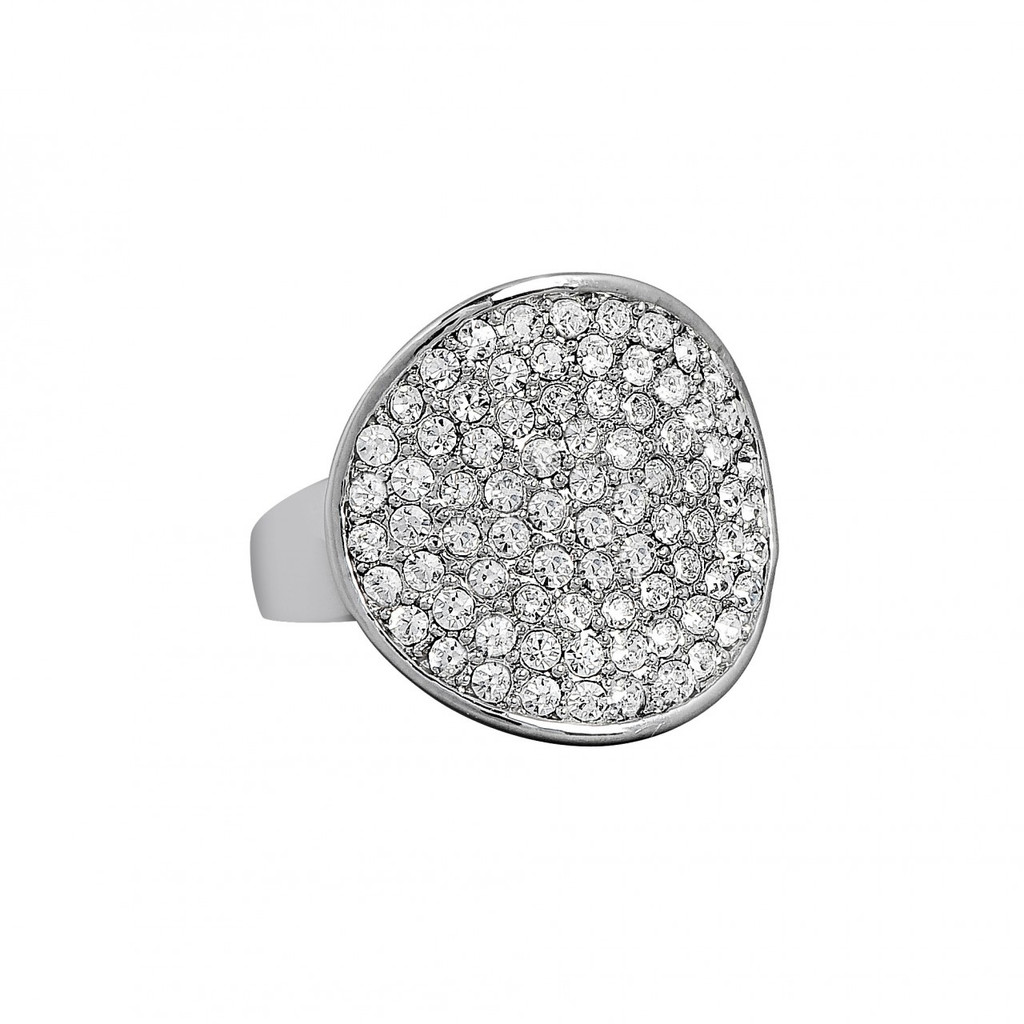 Rhodium Plated Crystal Disc Ring