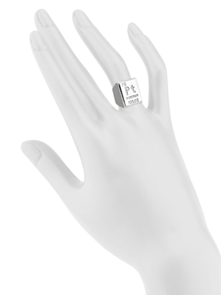 Rhodium Plated Platinum Element Ring Shown on Hand